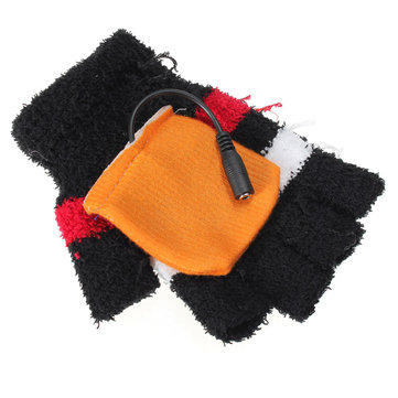 USB Heated Warm Woolen Fingerless Gloves Mitten